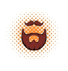 Mustache and beard comics icon vector