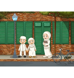 Muslim people standing on the road vector