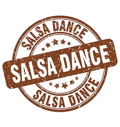 Salsa dance brown grunge round vintage rubber vector