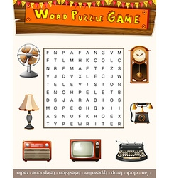 Word puzzle game for antiqu objects vector