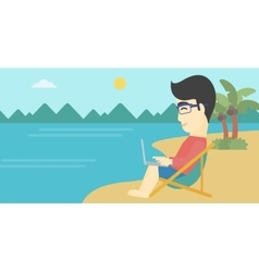 Businessman working on laptop on the beach vector