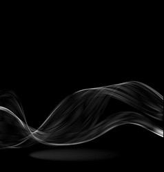 Abstract white wave on a black background vector