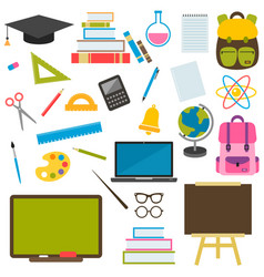 Back to school theme icons set vector