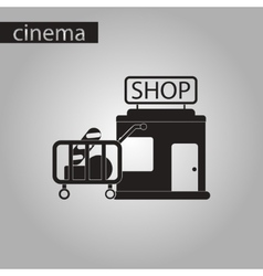 Black and white style icon shop cart with food vector