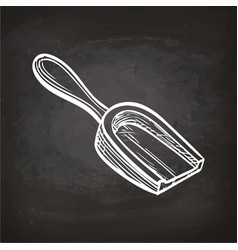 chalk sketch of wooden scoop vector image vector image
