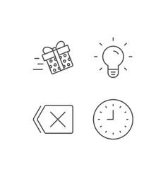 Clock light bulb and gift box line icons vector