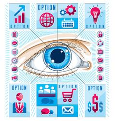 Creative infographics human eye looking eye vector