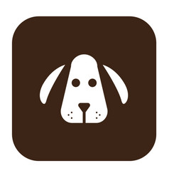 flat color dog head icon vector image vector image