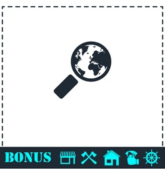 Global search icon flat vector image vector image