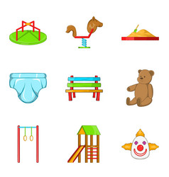 Great playground icons set cartoon style vector