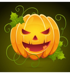 Halloween pumpkin with evil grin smile card vector