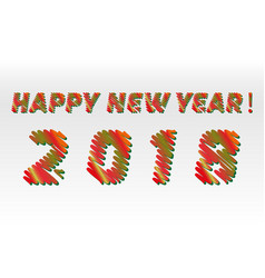 happy new year 2018 sketch different colors vector image vector image