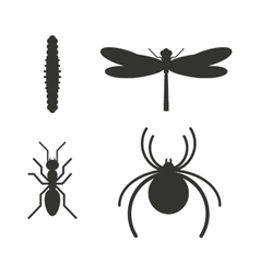 Insect icon black silhouette icons vector