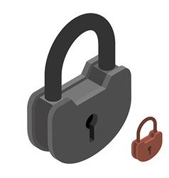 Iron lock large heavy padlock big vintage latch vector