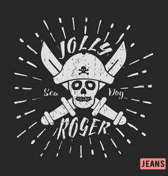 Jolly roger pirate vintage stamp vector