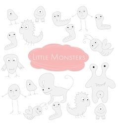 Little funny monsters doodle vector