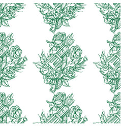 Monochrome seamless outline pattern a gun and vector