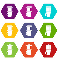 mug for coffee icon set color hexahedron vector image vector image
