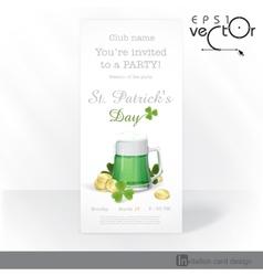 Mug Of Green Beer For St Patricks Day vector image