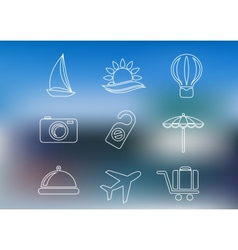 Outline style travel and tourism icons vector