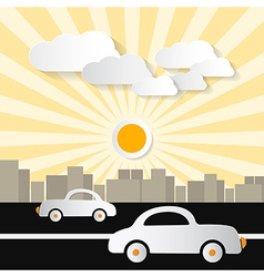 Paper Abstract Retro City with Buildings Cars Tre vector image
