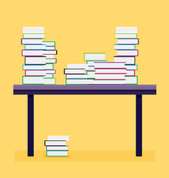 Pile of books on a wooden table vector