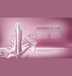 pink background with moisturizing cosmetic premium vector image vector image