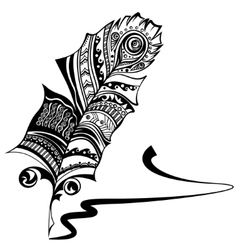 Plume with ethnic ornament vector