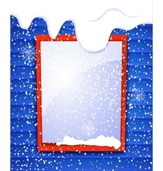 Rectangular window outside house in winter falling vector