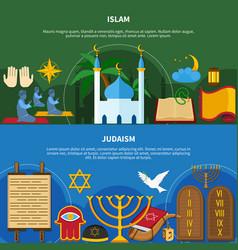 Religions flyer set vector