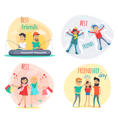 Set of best friends and friendship day flat design vector