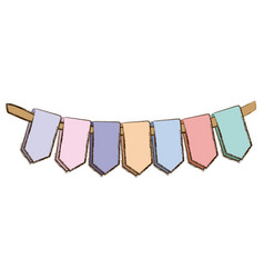 Set pastel palette decorative pennants for party vector