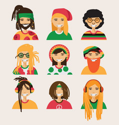 set with rastafarian men isolated on vector image