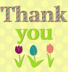 Thank You Card with Flowers vector image vector image