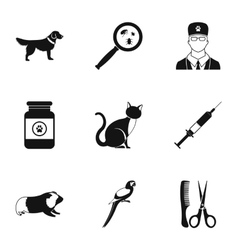 Veterinary animals icons set simple style vector image vector image
