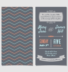 Vintage invitation card with background zigzag vector