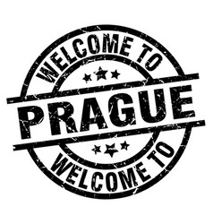 welcome to prague black stamp vector image vector image