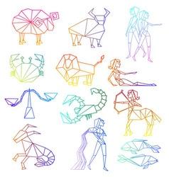 Zodiac signs line art set vector