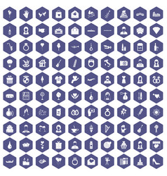 100 wedding icons hexagon purple vector