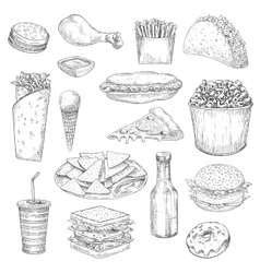 Fast food snacks and drinks sketch icons vector