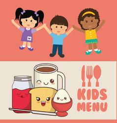 Kids menu diet meal healthy vector