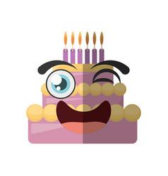 Cartoon sweet cake birthday wink vector