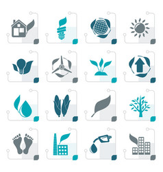 Stylized environment and nature icons vector