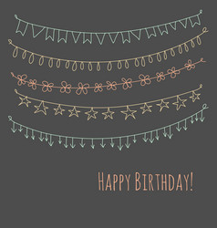 Happy birthday greeting card with garlands vector