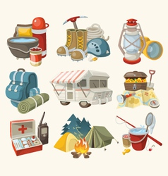 Set of items and devices for hiking vector