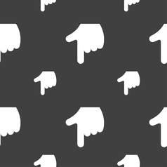 Pointing hand icon sign seamless pattern on a gray vector