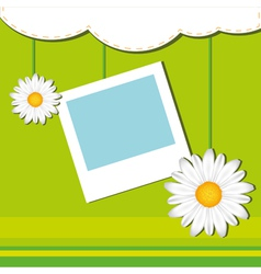 Card with frame and chamomile vector