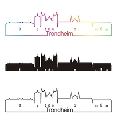 Trondheim skyline linear style with rainbow vector