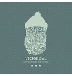 Print with cute and clever owl iwinter hat vector