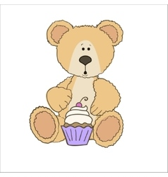 Teddy bear with cup cake vector